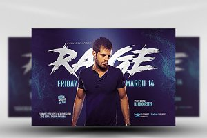 Blue Rage Party Flyer Template
