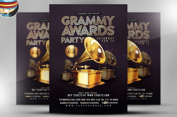 Grammy Awards Party Flyer Template Flyer Templates Creative Market