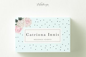 Polka Dots Floral Business Card