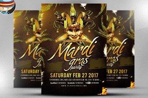 Golden Mardi Gras Flyer Template 2