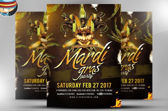 Golden Mardi Gras Flyer Template 2 Flyer Templates Creative Market