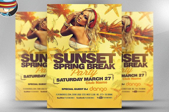 Sunset Spring Break Party Flyer