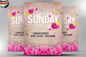 Easter Sunday Service Flyer Template