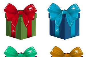 set of gift boxes in different