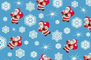 snowflakes with Santa Claus, pattern