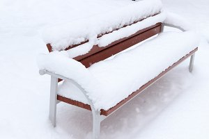 Snow Covered Bench