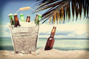 Instagram Lone Bottle of Beer Sand