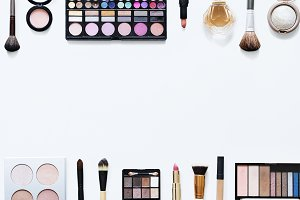 Flat lay of woman cosmetic (PSD)