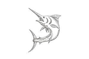 Atlantic Blue Marlin Doodle