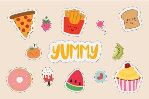 set of cute sticker with fast food.