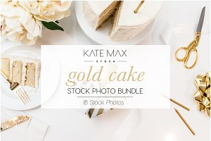 Gold Cake Stock Photo Bundle