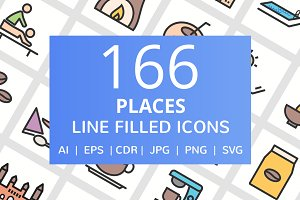 166 Places Filled Line Icons