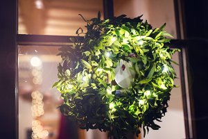 Green mistletoe wreath