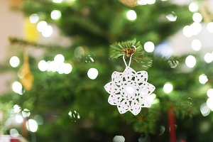 Crocheted decoration on Christmas tree