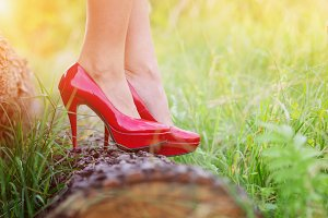 Woman in red heels