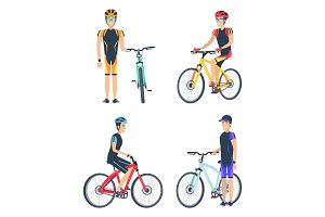 Bicyclist Smiling Poster Set Vector Illustration