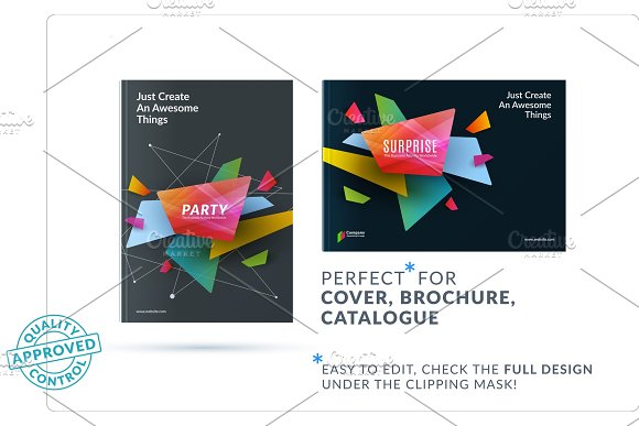 Business Set Of Design Brochure Abstract Annual Report Horizontal Cover Layout Flyer In A4 With Vector Colourful Geometric Shapes