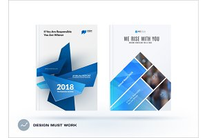 Business set of design brochure, abstract annual report, horizontal cover layout, flyer in A4 with vector colourful geometric shapes