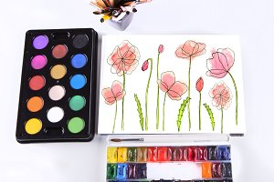 Watercolor painted poppy flowers