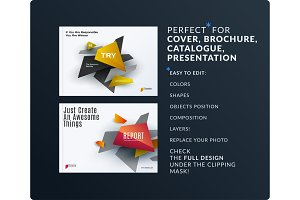 Presentation. Abstract vector set of modern horizontal templates with colourful shapes for meeting, teamwork, tech,