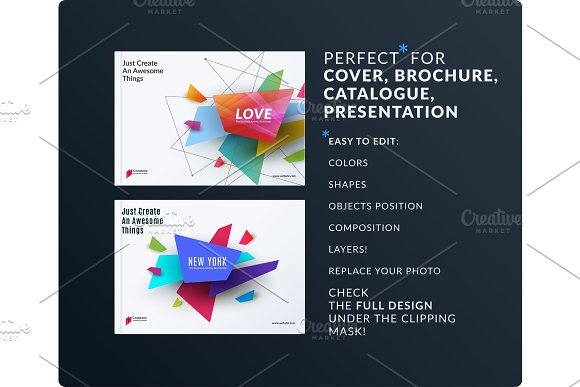 Presentation Abstract Vector Set Of Modern Horizontal Templates With Colourful Shapes For Meeting Teamwork Tech