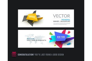 Abstract vector set of modern horizontal website banners with colourful triangle shapes
