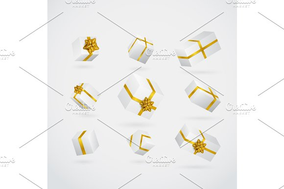 Gift 3D Background Festive Box And Bow Set