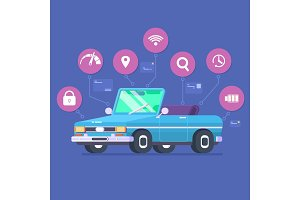 Driverless car technology features, autonomous vehicle system capability, internet of things road transport. Vector illustration