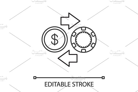 Gambling Chips And Cash Money Exchange Linear Icon