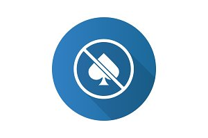 No gambling prohibition flat design long shadow glyph icon