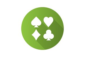 Suits of playing cards flat design long shadow glyph icon