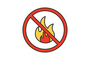 Forbidden sign with fire color icon