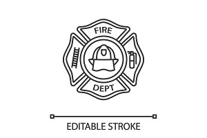 Fire department badge linear icon