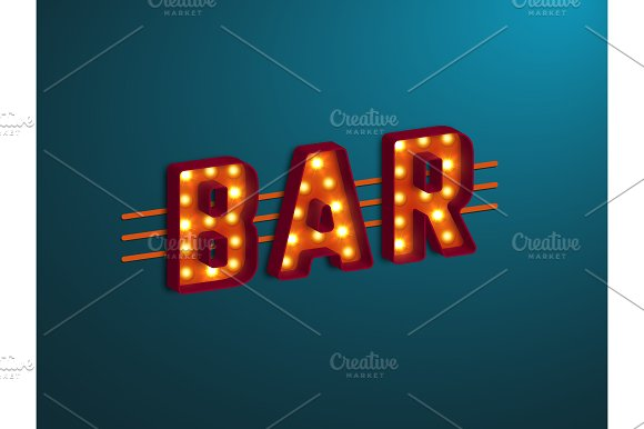 3D Retro Bar Sign With Electric Bulb