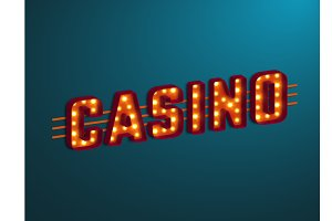 3d retro casino sign with bulb.