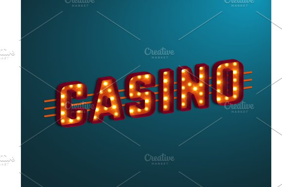 3D Retro Casino Sign With Bulb