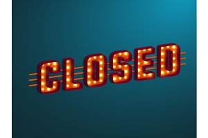 3d retro closed sign with bulb.