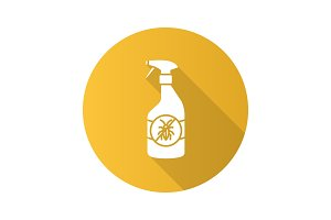 Insects repellent flat design long shadow glyph icon