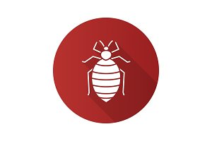 Bed bug flat design long shadow glyph icon
