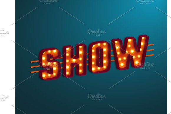 3d retro show sign with bulb.