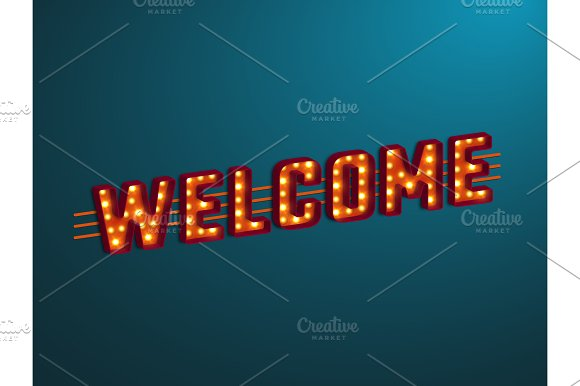 3d retro welcome sign.