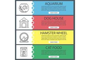 Pets supplies web banner templates set