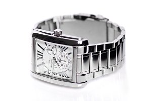 Men's wrist watch white background