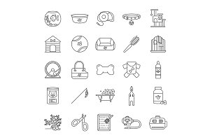 Pets supplies linear icons set