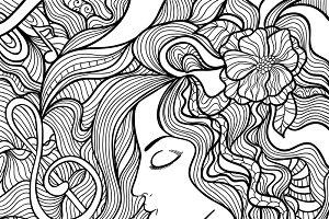 Black and white vector illustration.