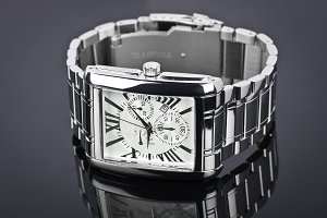 Men's wrist watch black background