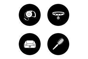 Pets supplies glyph icons set