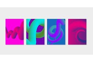 Set of liquid fluid cover templates. Liquid plastic shapes with ultra violet purple colors.