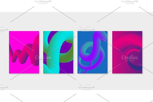Set Of Liquid Fluid Cover Templates Liquid Plastic Shapes With Ultra Violet Purple Colors
