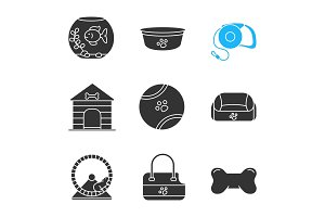 Pets supplies glyph icons set